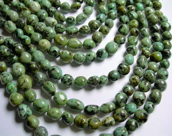 African turquoise - Nugget - bead - full strand - 7 -10mm -  african turquoise gemstone - PSC355