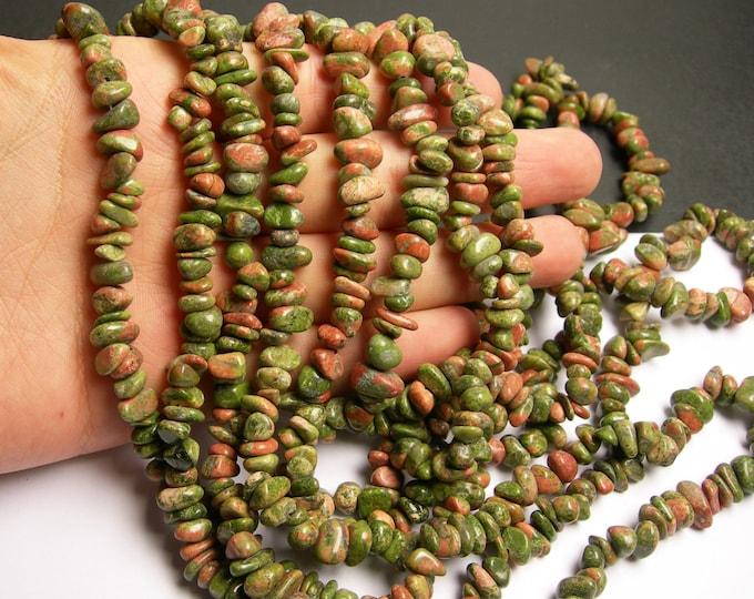 Unakite Gemstone - chip stone - pebble bead - full strand - 36 inch Genuine Unakite - PSC2
