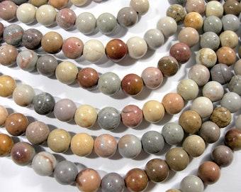 Light Picture Jasper - 8 mm round beads - full strand  47 beads - RFG1753