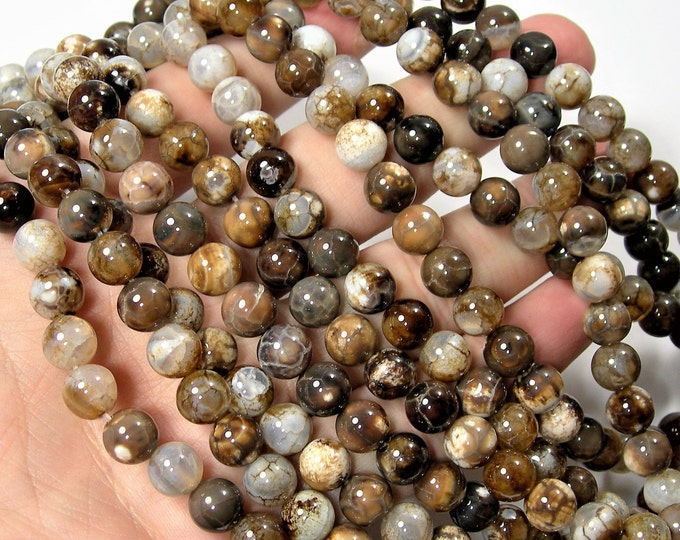Fire Agate beads  - 8mm round beads - full strand - Brown fire agate - brown crackled agate - 48 beads - RFG1621