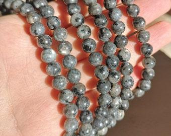 Larvikite 8mm - full strand 48 beads - black labradorite - WHOLESALE DEAL  - RFG309