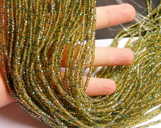 Crystal - rondelle faceted 3mm x  2mm beads - 200 beads - AA quality   - Green gold - ab finish - full strand - CAA2G6