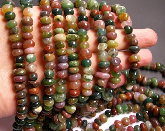 Indian agate gemstone - rounded nugget beads - 8mm - full strand - 60 beads - PSC37