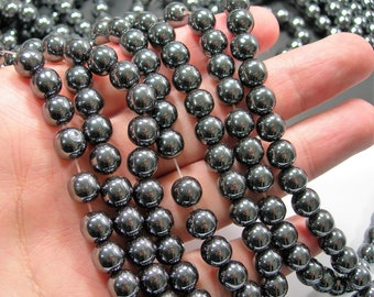 Hematite - 8 mm  round beads - full strand - 50 beads - WHOLESALE DEAL - RFG782