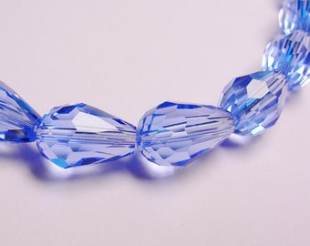 Faceted teardrop crystal  beads 20 pcs 11 mm by 7mm clear blue - NCBS2