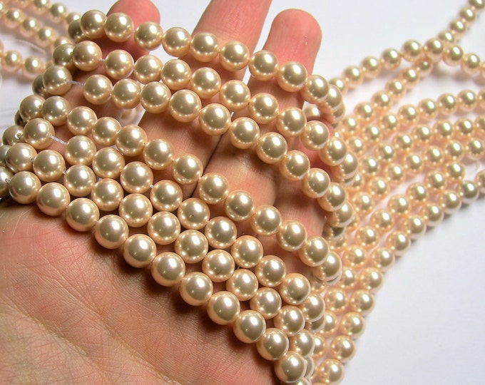 Pearl  - 8 mm round - light peach Pearl - 1 full strand - 48 beads - SPT31 - Shell pearl