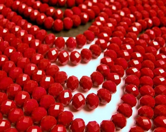 Crystal faceted rondelle -  68 pcs - full strand - 8 mm - A quality -  red - CRJ04