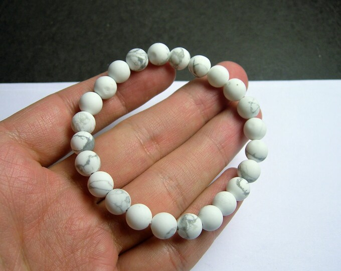 White Howlite turquoise matte - 8 mm  round beads - 23 beads - 1 set - A quality - HSG56