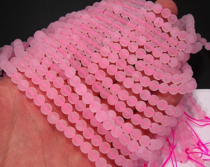 Rose quartz matte  6mm round - full strand - 64 beads - matte rose quartz - frosted - RFG886
