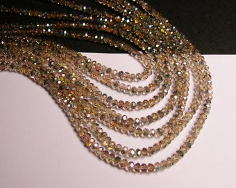 Crystal faceted rondelle - 4mm - 100 beads - sparkle watermelon - ab - full strand - NCRF10