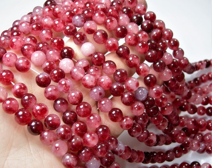 Jade - 8mm round beads -1 full strand - 48 beads - color red Jade - RFG1612