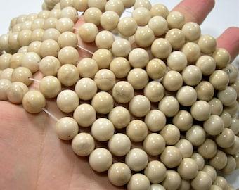White Fossil Jasper  - 10mm(10.3mm) round beads - full strand - 37 beads - RFG1720