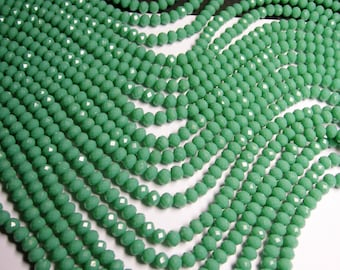 Crystal faceted rondelle - green -  90 beads -  6 mm - A quality - matte green - full strand - CRV110