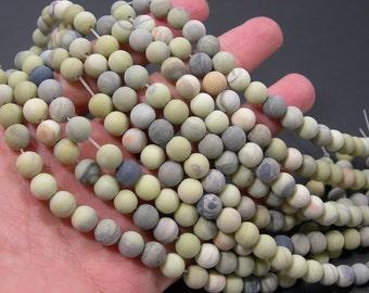 Butter Jade Matte 8mm round beads - full strand - 47 beads per strand - RFG2205