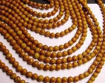 Wood Jasper - 6 mm round beads -1 full strand - 63 beads - WHOLESALE - RFG1150
