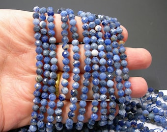 Sodalite - 5mm faceted round beads - full strand - 75 beads  - Micro Faceted - PG368