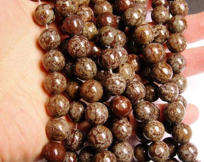 Obsidian 12 mm AA quality - 33 beads per strand - full strand - brown snowflake obsidian - RFG1441
