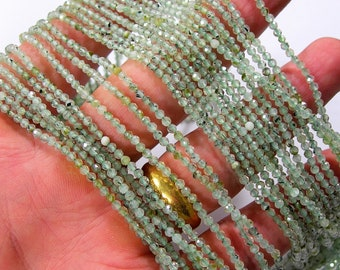 Prehnite - 2mm faceted  beads - Full Strand - 169 beads - Micro Faceted - PG406