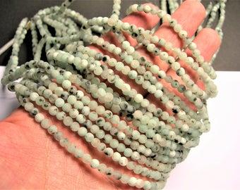 Lotus Jasper - matte - 4mm (4.3mm) round   beads -1 full strand - 91 beads - RFG1397