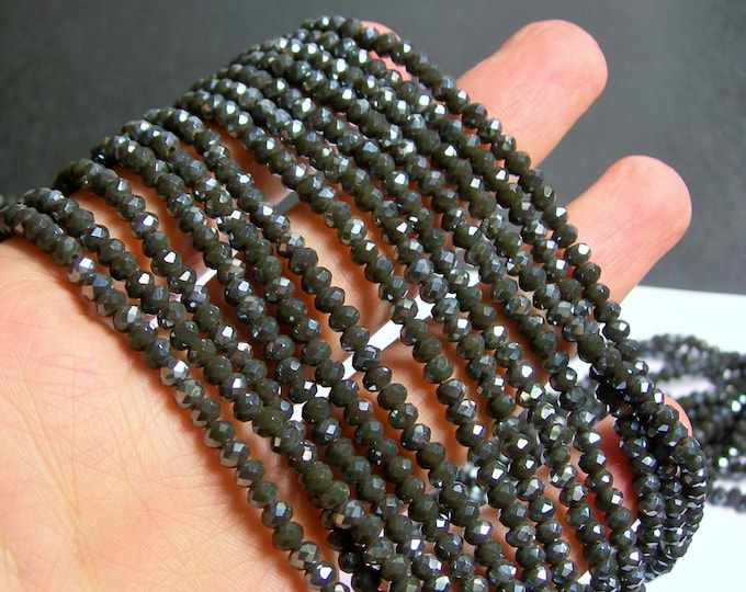 Crystal faceted rondelle - 145 pcs - 18 inch strand - 4 mm - A quality - dual tone grey silver ab - YAZ6