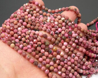 Rhodonite - 5mm faceted round beads - full strand 80 beads - micro faceted Rhodonite - PG327