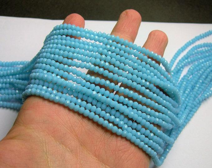 Crystal faceted rondelle 4mm - light blue matte - 19 inch strand 147 beads - YAZ23
