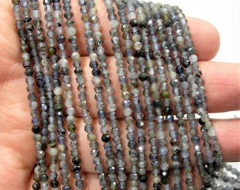 Iolite - 3mm ( 2.7mm) micro faceted round beads -  full strand - 145 beads - A quality - Iolite gemstone - PG257
