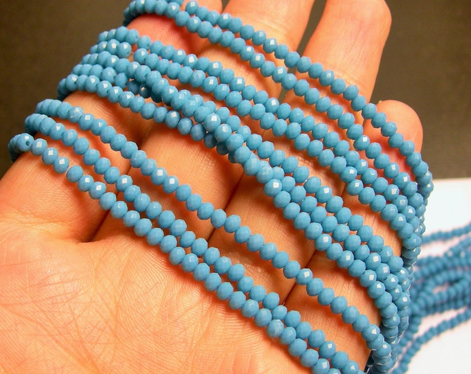 Crystal - rondelle faceted 3.5mm x 2.5mm beads - 140 beads - Blue - full strand -NWHOLESALE DEAL - MAC9