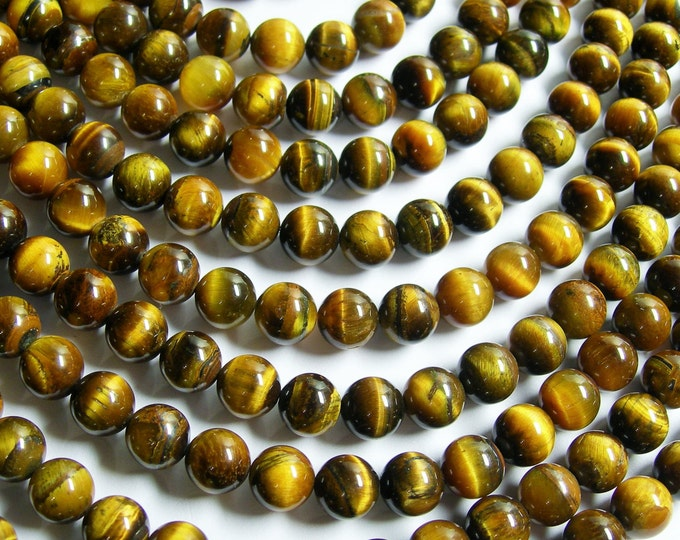Tiger Eye - 8 mm round beads - full strand - 48 beads - Wholesale deal - RFG168