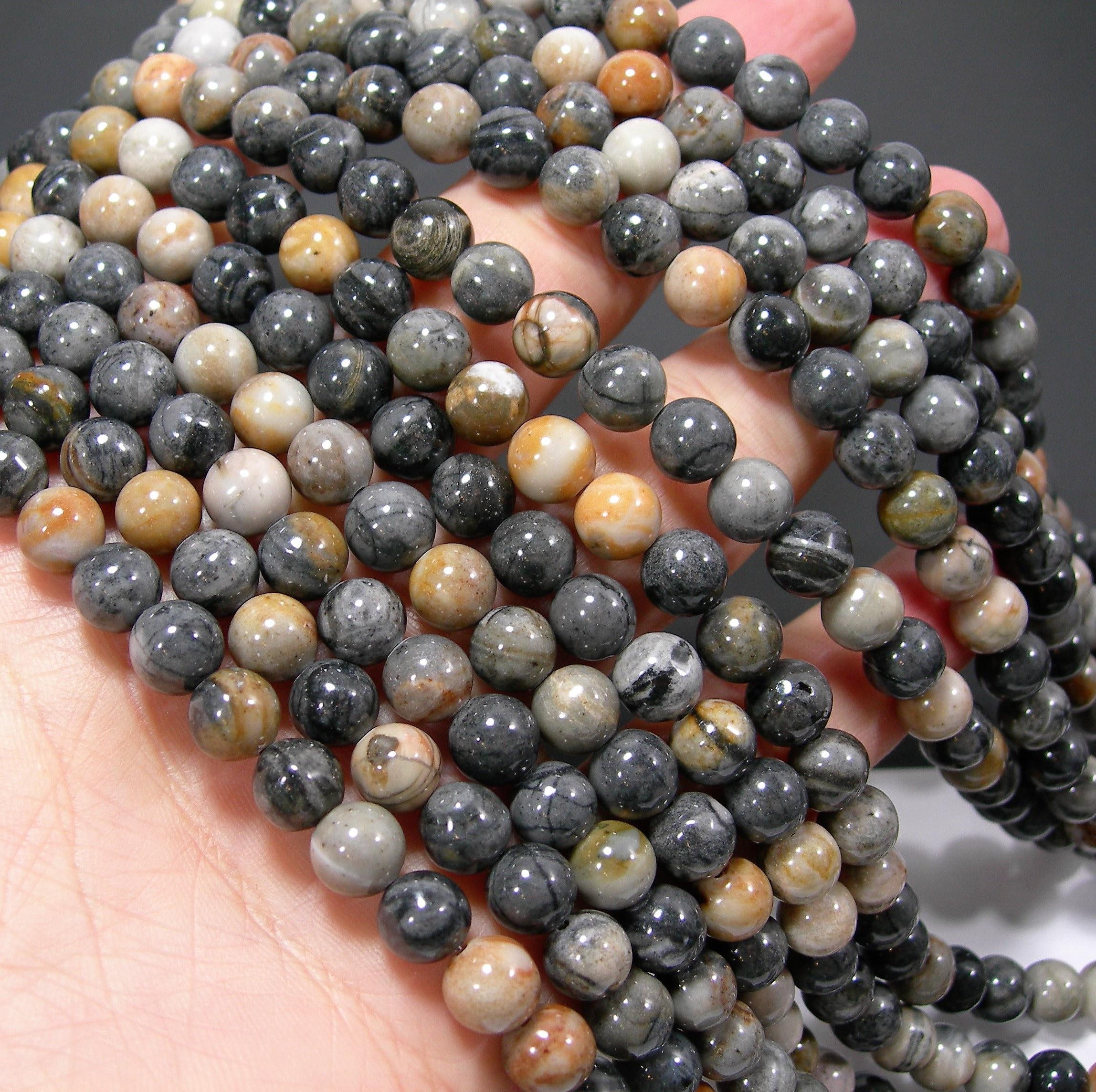 49 beads Silver Gray Picasso Jasper full  strand round beads 8mm RFG1304