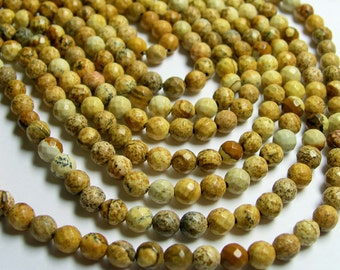 Picture Jasper - 6 mm faceted round beads full strand - 64 beads - RFG403