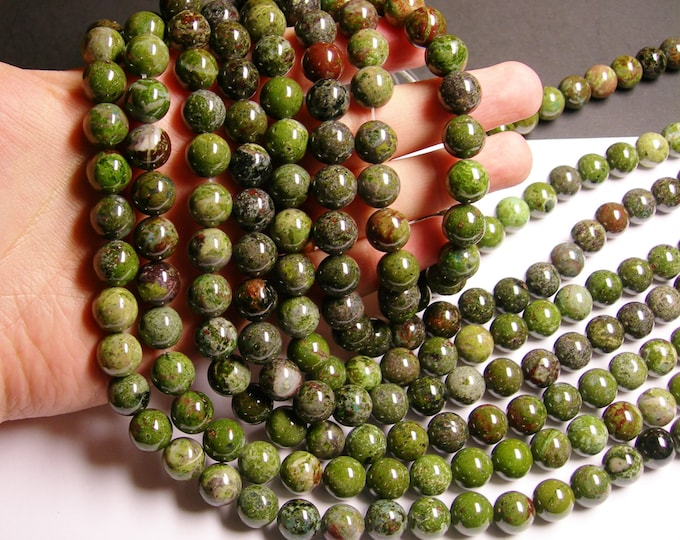 Green Forest jasper  - 12 mm round beads -1 full strand - 34 beads - A Quality - RFG1032