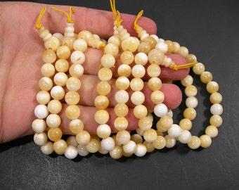 Honey Jade - 8mm round beads - 21 beads - 1 guru beads  - 1 set - A quality - HSG118