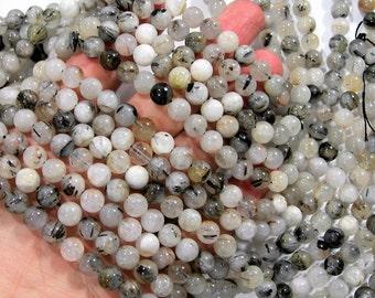Tourmalinated quartz - 8 mm round beads -1 full strand - 48 beads  - low grade mix tourmalinated quartz - RFG1825