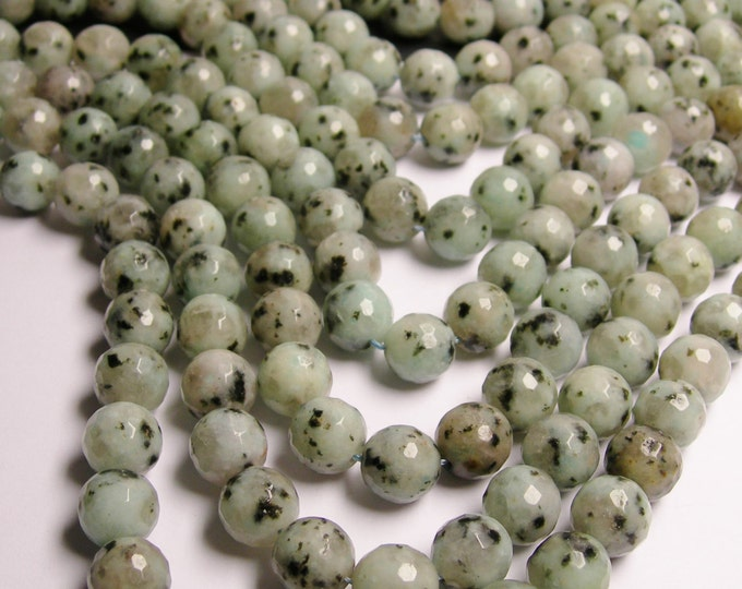 Lotus Jasper - 12 mm round faceted  beads -1 full strand -33 Beads - RFG1437