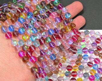 Mystic aura quartz muti color - 8mm round - Holographic quartz - 48 Beads - full strand - RFG1888