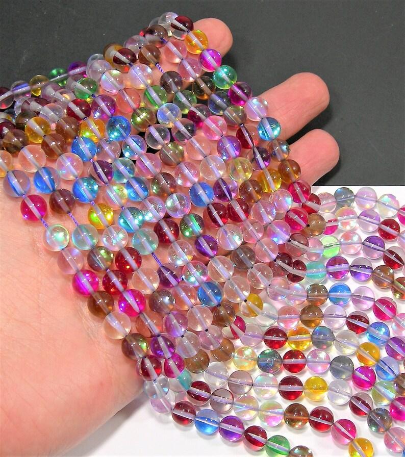 "8MM Champagne Frosted Matte Mystic Aura Quartz Gemstone Round Loose Beads 7/"""