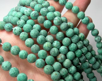 Crazy Lace Agate - matte  8mm round - 1 full strand - 48 beads - A quality -Sea Green crazy lace - RFG1610