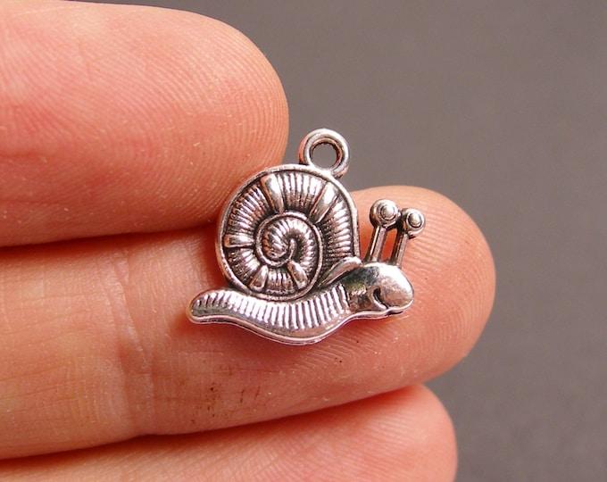 24 snail silver tone charm - 24pcs  - ASA87