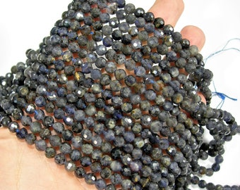 Iolite - 6mm micro faceted round beads -  full strand - 64 beads - A quality - Iolite gemstone - RFG2080