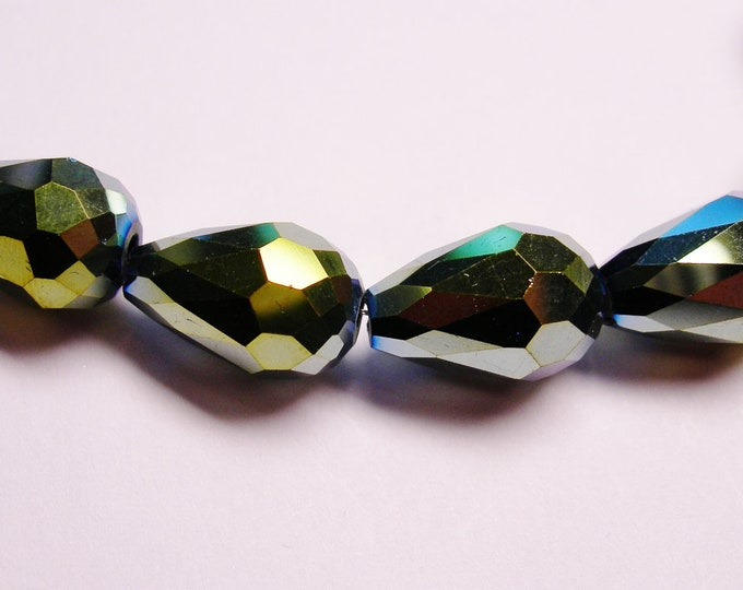 Faceted teardrop crystal  beads 12 pcs 14mm by 9mm - sparkle metallic green