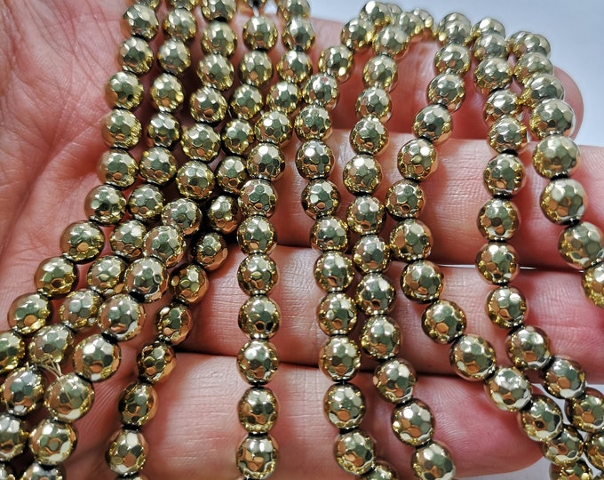 Hematite Gold - 6 mm faceted beads - full strand - 65 beads  - RFG2333