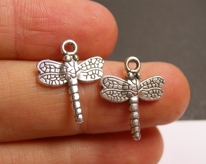 24 dragonfly charms - 24 pcs - dragonfly silver tone charms - ASA130