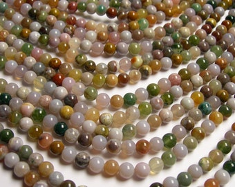 Indian agate 6mm round beads -  67 beads - 1 full strand - RFG49