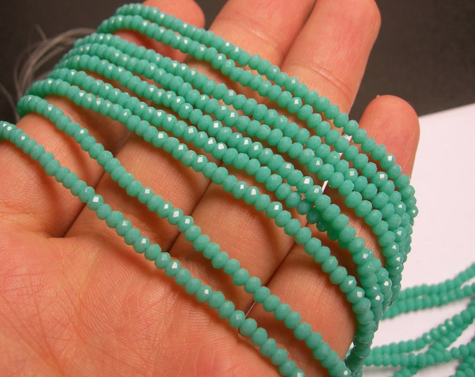 Crystal - rondelle faceted 3.5mm x 2.5mm beads - 140 beads - aqua turquoise - full strand - MAC3