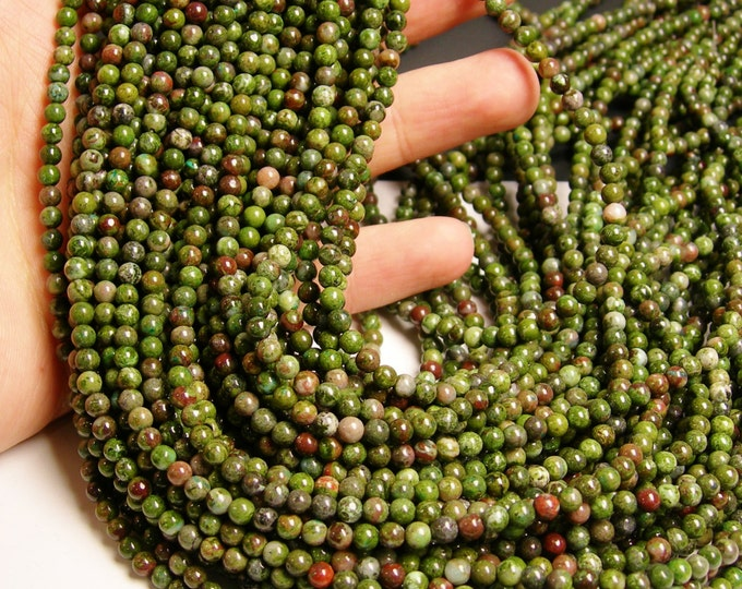 Green Forest jasper  - 4 mm round beads -1 full strand - 100 beads - A Quality - RFG1030
