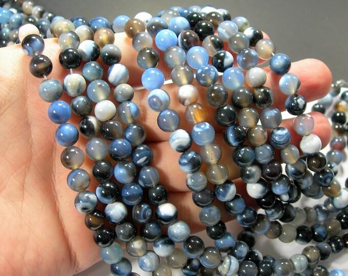 Blue Banded Brazil Agate - 8mm round - full strand - 48 beads - RFG2311