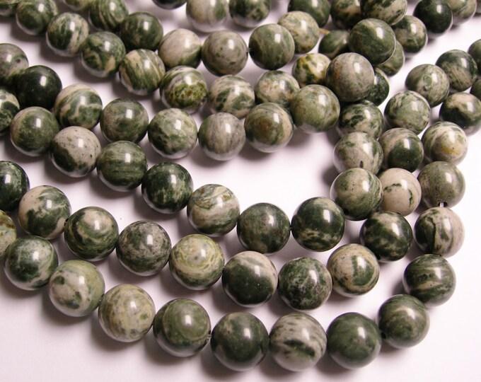 Green jasper zebra - 10 mm round beads -1 full strand - 38 beads - A quality - RFG1147
