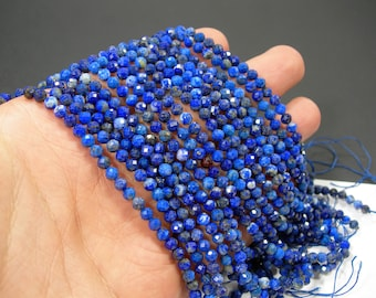 Lapis Lazuli - 4.1mm faceted round beads - full strand  94 beads - micro faceted Lapis Lazuli  - PG292