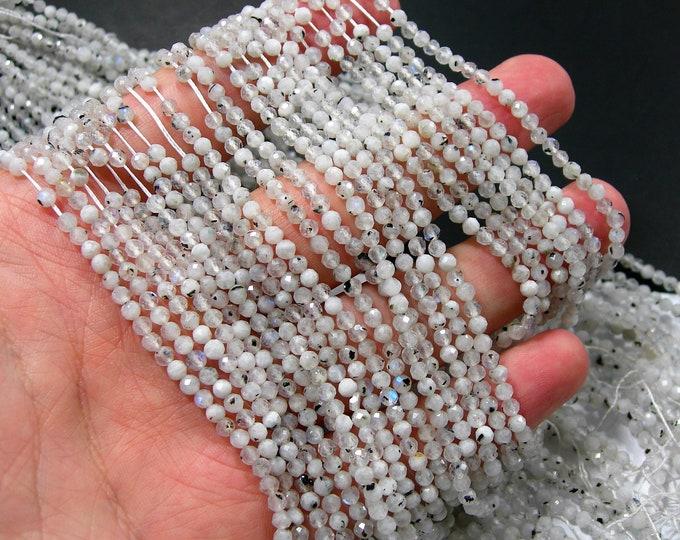 Moonstone - 3mm micro faceted round beads - 124 beads - Full strand - Moonstone black rutile - RFG2323